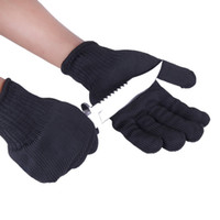 1 Luvas Par Black White Segurança de Trabalho Cut-Resistant Mãos de aço inoxidável proteção de arame Butcher Anti-corte Luvas