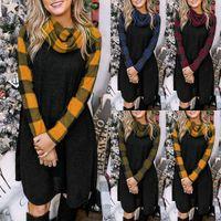 4 cores Vestido Mulheres Plaid manga comprida costura vestido Pilha Collar Moda Casual Moda Outono E Asain Inverno Tamanho S-XXL