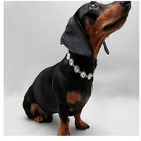 حجر الراين الكلب طوق لؤلؤة الكلب الياقات كريستال الماس الحيوانات الأليفة لؤلؤة قلادة الحيوانات الأليفة زينة مجوهرات قلادة الرقبة