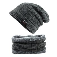 2pcs Men Hat and scarf Neck warmer Winter knit Cap scarfs Ha...