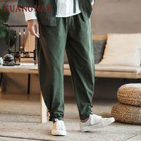KUANGNAN Pantaloni in cotone stile cinese uomini Jogger giapponese Streetwear Jogging Pantaloni pantaloni Hip Hop 2019 Primavera