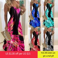 Lässige Kleider Vintage Blatt Print Kleid Sexy Spaghetti Strap V-Ausschnitt Lange Frauen Sommer Big Swing Beach Party Tunika Plus Größe 6XL