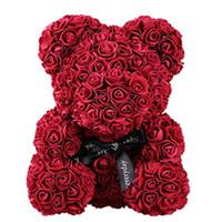 Gül Teddy Bear Çok Renkli Yapay Çiçekler Gül Ayı Köpük Kız Arkadaşı Sevgililer Günü Hediyesi Doğum Günü Partisi Dekorasyon
