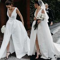 Deep V Neck Satin Brautkleider 2019 Günstige Long Split Front Backless Brautkleid Sleeveless Einfache Brautkleider Strand Vestidos M85