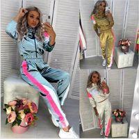 En iyi satmak Kadınlar aktif seti spor eşofmanları femme giysiler setleri koşu 2 adet survetement Running Hoodies Kazak + Pant eşofman