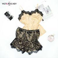 Suphis Sexy Khaki Mesh-Pyjama-Sets weiblichen V-Ausschnitt Satin Top Cami Spitze Shorts PJ Set Herbst Nachtwäsche Frauen CX200606