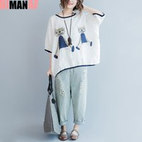 Big Size Summer Style T- shirt Women Pattern Cat Print Linen ...