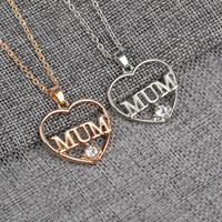 My Love Mum Necklace Silver Gold Plated Crystal Heart Colgantes Cadena Best Friend Family Jewelry Para Mujeres Grils Envío de la gota