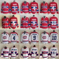 Vintage Montreal Canadiens Hockey Jersey 4 Jean Beliveau 9 Maur Richard 10 Guy Lafleur 1 Jacques Plante 5 Bernie Geoffrion Classic Bianco Rosso