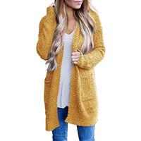 Autumn long sleeve popcorn women long cardigan solid 7 color...