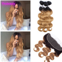 Brazilian Virgin Hair 1B 27 Ombre Human Hair Extensions 3 Bu...