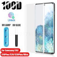삼성 갤럭시 S21 용 UV 강화 유리 보호기 Ultra S20 Plus S10 S9 S8 액체 스크린 필름 메모 20Ultra 20 10Plus 10 9 8
