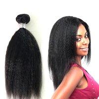 """Bella Hair® Brezilyalı Virgin Saç Kinky Düz Saç Uzantıları Doğal Siyah Renk Saç Dokuma Atkı 8 """"-30"""" 3pcs / lot Ücretsiz Kargo"""