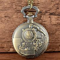 Zugthema Voll Quarz Gravierte Fob Retro hängende Taschen-Uhr-Ketten-Geschenk Feuerwehr Theme