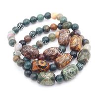 10pcs naturale agata indiana pietra preziosa in rilievo uomini donne stretch braccialetto d'epoca preghiera agata tibet dzi perline bracciali elastici buona fortuna