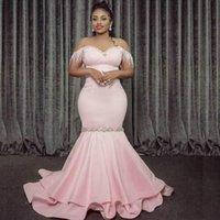 2020 fuori dalla spalla Mermaid abito da sera Perline Black Girl Partito Africano Prom Dresses Pageant abito robe de soiree Plus Size