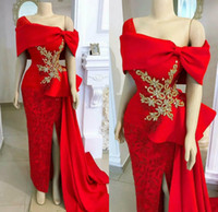 Long Red Mermaid Prom Dresses Tulle Appliqued Off The Should...