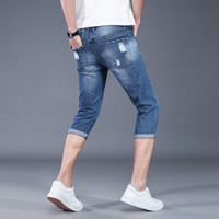 neue arrivla Mode Light Blue Jeans Männer nehmen Löcher Beggars Shorts Sommer-dünne beiläufige Knielänge plus Größe 28-31 32 33 34 36 38