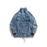 Erkek Moda Sokak Gevşek Denim Ceket Palto ŞANSLI BEŞ Harf Baskı Blue Coat İlkbahar Sonbahar Kış Kargo ceketler Pockets