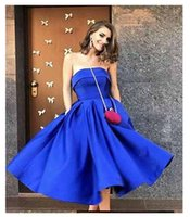 Royal Blue Strapless Vestidos Homecoming Vestidos Ruched Plisss Chá Comprimento Do Chá Cetim Lace Up Back Formal Desgaste De Noite Vestido De Prom Bola Plus Size 25