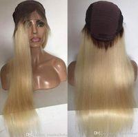 Kadın Ücretsiz Nakliye için Ünlü Peruk Dantel Açık Peruk Ombre Sarışın 613 İpeksi Düz 10A Sınıf Brezilyalı Virgin İnsan Saç Tam Dantel Peruk