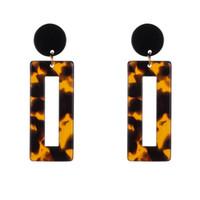 Популярные акриловые серьги Leopard печати Геометрический Прямоугольник Смола мотаться падение серьги для женщин серьги моды ювелирных подарков