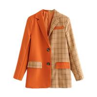 FEAT 2019 mujeres blazer chaqueta a cuadros hembra remiendo sólido naranja manga larga manga señorita oficina oficina exterior ropa de traje MF971