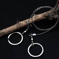 Inoxidável bolso fio de aço Saw Compact Survival Ferramenta de Mão Corda portátil Handsaw lâmina para corte de árvores de madeira Camping Caminhadas ao ar livre