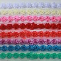 """15y 1.5"""" flores raídas gasa petite accesorios para el cabello para niñas, la gasa de flores color de rosa para vendas del bebé, equipos de flores del arte de DIY"""