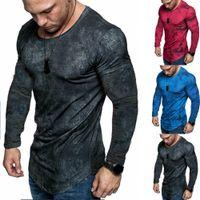 Homens Slim Fit Em Torno Do Pescoço Manga Longa Muscle Tee Casual T-shirt Tops Blusa