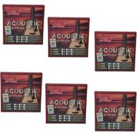 6Sets أليس الغيتار الصوتية سلاسل الصلب الأساسية المغلفة سبيكة النحاس جرح 6 سلاسل مجموعة A408L SL