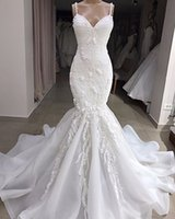 Elegant Sexy SPaghetti Lace Appliqued Back Mermaid Wedding Dress Luxury Sheath Sweep Train Beach Bohemian Plus Size Bridal Gown