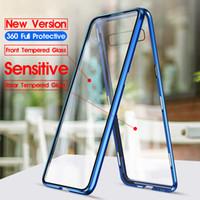 Estuche templado de doble cara de actualización de cuerpo completo 360 para Samsung S10 Plus Carcasa magnética de metal para Note 8 9 M10 M20 Estuches de magneto A30 A50 A70 A10