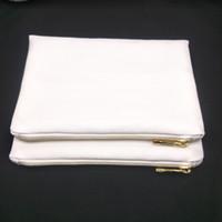 50pcs / lot 12 oz épais sac de maquillage en toile blanche poly pour impression par sublimation sac de maquillage en toile blanche blanche vierge pour transfert de chaleur