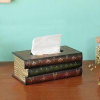 Caja de pañuelos de libro retro Caja de lujo Europe Retangle Napkin Papel Holder Tobling Storage para suministros de decoración de oficina en casa