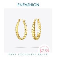 Enfashion Torsion-Seil-Band-Ohrring-Goldfarben Earings Seil Kreis-Ohrringe Trendy große runde Ohrringe für Frauen Schmuck EM181065