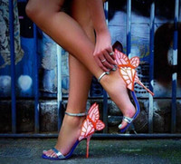 2019 صوفيا ويبستر إيفانجلين ملاك الجناح صندل زائد الحجم 42 جلد طبيعي مضخات الزفاف الوردي بريق أحذية النساء الصنادل فراشة