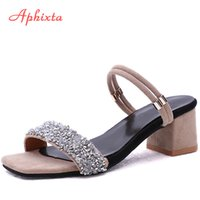 Aphixta Shoes Women Sandals Luxury Crystal Shoes Summer Open Toe Buckle Chunky Heels Rhinestone Slippers Silver Gold Large Size MX200407