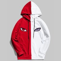 2020 New Double Color Splice spring Anime Eye Print Hoodies ...