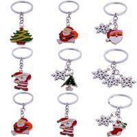 Chave de metal Chaveiro Anéis Chaveiro Moda Chaveiros para Carros Papai Noel Árvore Boneco De Neve Floco De Neve Chaveiro Pingente Gotas de Presente de Natal enfeites