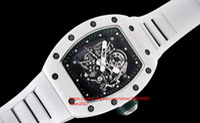 Мужская Роскошная Высокое Качество RM055 Модифицированный Японский Miyota 8215 механизм Белый Керамический Безель 42 мм Сапфир Автоматические Механические Мужские Часы