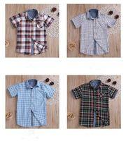 Ropa del bebé de los niños del verano Solid Plaid camisetas de manga corta de algodón de las tapas de rejilla suelta camisas ocasionales del niño Boutique caballero Traje EZYQ336