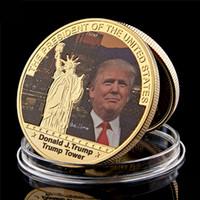 Präsident US Donald Trump Vergoldete Münzhandwerk USA Turm Die Statue der Freiheitssammlung Geschäftsgeschenk