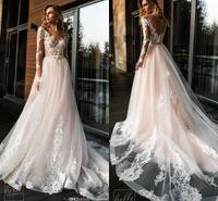 2019 elegante encaje apliqueado vestidos de novia en V cuello a-line plus size boho boho boho barato personalizado manga larga vestido de novia 2019 BC1438