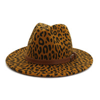 2020 Pop a buon mercato all'ingrosso Party Lady Felt Lana Chapeau Panama Fedora Cappelli uomo Donne Panama Style Jazz Trilby Cappello con stampa leopardata