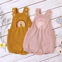 Maluch Dziewczynek Pajacyki Ins Nowy Jesień Infant Swetry Suefeles Rainbow Kombinezon Kids Girls Sweter Bodysuit Babies Oneşe 0-2t