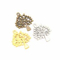 Granel 200 unids / lote Fabricación de Joyas Hallazgos de Suministros Encantos Árbol de la Vida Charms Colgante Para Artesanía 30 * 24mm