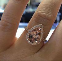 2020 anillos de bodas de lujo para mujer de piedras preciosas anillos de moda de compromiso para la joyería de las mujeres anillo de diamante simulado para la boda