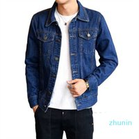 Fashion-2018 new fashion slim fit denim jacket single breasted motorcycle jacket mens jeans coats turn-down collar outerwear man