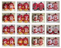 Dikişli Calgary Flames Hokey Formaları # 12 Jarome Iginla Jersey # 2 Al Macinnis # 9 Lanny McDonald # 10 Gary Roberts Formalar Hızlı Shiping